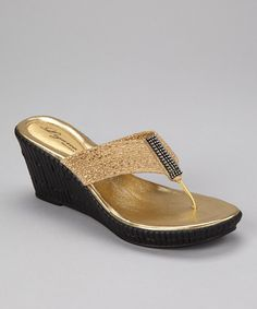 Take a look at this Gold Imperial Wedge Sandal by Dezario on #zulily today!