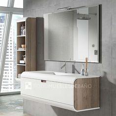 Mueble de baño color costado Niágara 84/ frente Nieve 50  + lavabo Sunne solid 100cm + espejo Pando 100cm