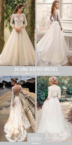 24 Chic Long Sleeved Wedding Dresses ❤ Long sleeve wedding dresses are…