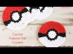 Crochet Pokemon Ball Coaster Pattern - Midwestern Moms