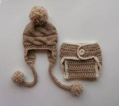 Baby Boy Outfit  Newborn Baby Hat and Diaper Cover by KnittingLand
