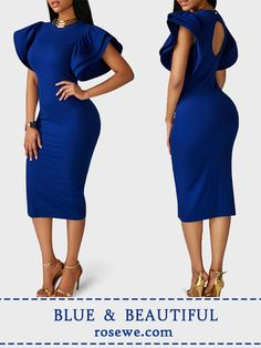 Confidence and smiling, that's what actually makes you look pretty. Cutout back petal sleeve royal blue sheath dress on sale only US$31.74 now, check it out.