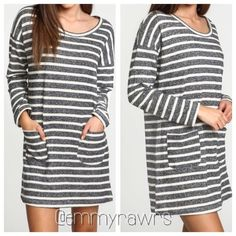 "SALE• The CHARLOTTE Striped Pocket Dress What's better than a relaxing day? An outfit that goes with it!! This relaxed style dress is simple but yet it can be easily dressed up or down! Just pair it with your favorite shoes and jacket! Features: grey and white striped pattern, long sleeves, and 2 front pockets. Nwot. Fits true to size. ** I am a size 4 and I am wearing a small. Rough measurements • Medium bust and waist 37"", length 32"", Large bust and waist 39"", length 34"" Dresses Midi"