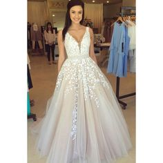 2019 A Line Straps Prom Dress Tulle With Beads And Applique Floor Length VEPS5D6M4J