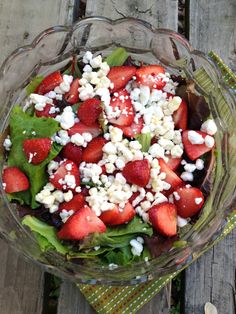 Mixed greens, strawberries, and goat cheese salad. A delightful late spring treat!