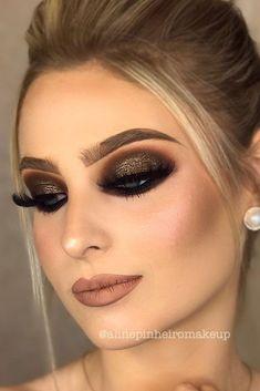 Homecoming makeup: 50 best eye makeup ideas for homecoming - Luise.site - Homecoming Makeup: 50 Best Eye Makeup Ideas For Homecoming up - Black Eyeshadow Makeup, Smokey Eye Makeup, Makeup For Brown Eyes, Glam Makeup, Makeup Inspo, Bridal Makeup, Wedding Makeup, Makeup Inspiration, Makeup Tips