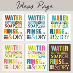 Kids Bathroom Art Prints, Wash Your Hands, Brush Your Teeth, Set of Two, pick custom colors, size 11x14. $48.00, via Etsy.