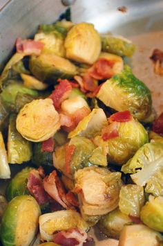 Apple Juice Braised Brussels Sprouts with Bacon