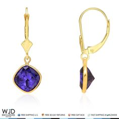 The luxurious deep blue color shines brightly as the sapphire gemstone is cradled in bezel setting. These dangle earrings are crafted in 14K solid yellow gold, securing with lever backs. Product Specifics   Metal 14k Yellow Gold   Style Leverback Dangle Earrings   Finish High Polished   Earring...