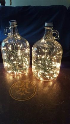 Quick outdoor lights! Free glass wine jugs, old clear twinkle lights! Yay!