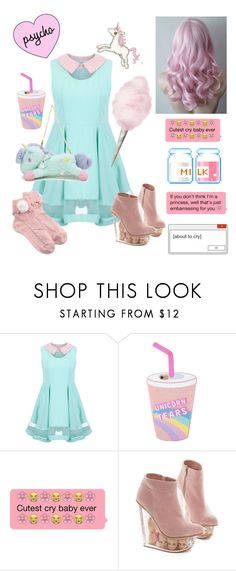 """""""Pastel Melanie Martinez inspired outfit"""" by dazzling-pink-elaina ❤ liked on Polyvore featuring Jeffrey Campbell"""