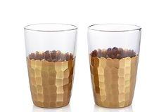 Set of 2 Honeycomb Wineglasses, Gold