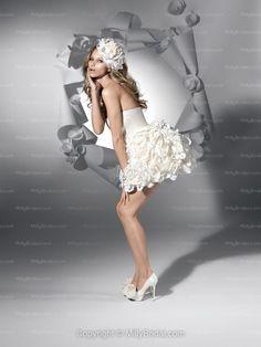 Ball Gown Strapless Sleeveless Zipper Taffeta Ruched Short/Mini Wedding Dress at Millybridal.com