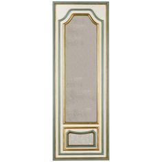 Chelsea House Grand Hall Mirror 383294 Details: Cream wood with green and gold leaf edges Antiqued plain mirrors Measurements: Dimensions: w x d x h Packed Volume: cu. Hall Mirrors, Mirror Shop, Wood Mirror, Cool Walls, Decor Crafts, Green And Gold, Wall Decor, Ceiling Lights, House