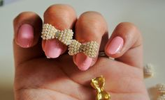2 pc of gold bow with pearls 3d nail charm by GlamourFavor on Etsy