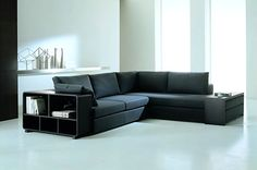 20 Modern Sectional Sofas for a Stylish Interior // love the one with the storage shelves in the arms
