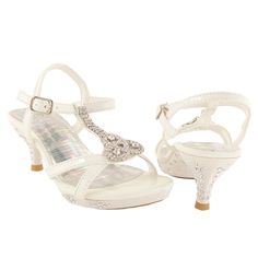 Little Girls Glamorous Embellished T-Strap High Heel Dress Sandals White Ladies Shoes, Girls Shoes, Girls Footwear, White High Heels, Wedding Shoes, Wedding Dresses, Up Shoes, Party Shoes, Dress Sandals