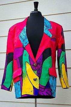 VTG-Picasso-80s-Jacket-Blazer-Womens-Retro-Wearable-Art-Hip-Hop-Mardi-Gras