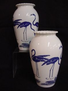 Milk glass tall vases with flamingos