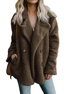 c83e2451e7c4 Shop a great selection of OopStyle Womens Lapel Sherpa Fleece Open Front  Coat Pockets Outerwear. Find new offer and Similar products for OopStyle  Womens ...