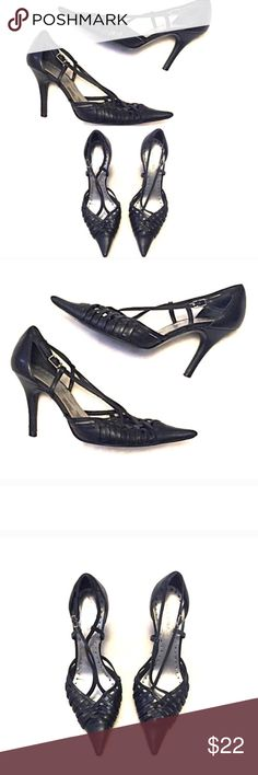 """❣BOGO 1/2 off❣BCBG black leather strappy heels 5.5 5.5M, true to size. Leather upper. Silvertone buckle. 3.5"""" heel. A couple very small knicks on heel, as shown in last pic. Otherwise great condition. ✖️I do NOT MODEL✖️ 🔴Bundle to save! 🔴NO TRADES. 🔴REASONABLE offers welcome via offer button. BCBGirls Shoes Heels"""