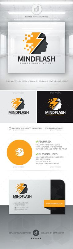 Mind Flash Logo Template Vector EPS, AI. Download here: graphicriver.net/...
