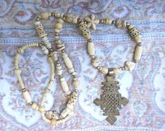 Coptic Cross on Long White Beaded Necklace Various by ShastaMaggie