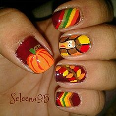 Maroon, red, green, orange, yellow, and brown Stripes, pumpkin, leaves, and Turkey design - Thanksgiving