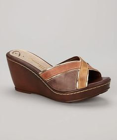 Look at this #zulilyfind! Passarela Brazil Terra X-Strap Leather Wedge Sandal by Passarela Brazil #zulilyfinds