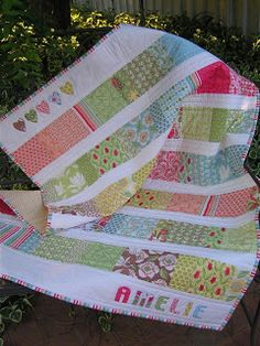 """Thimbelina: Upsized Charm Square baby Quilt instructions - To make mine a little larger, I used 1.5 charm square packs (63 squares). You will need 42 x 5"""" squares 21 x 5"""" squares cut in half to make 42x 5x2.5"""" rectangles 6 x 2.5"""" strips of white sashing (39.5"""" each) 2 x 6.5"""" strips of white sashing for the top and bottom You can then make 7 rows, each with six 5"""" squares and six 5x2.5"""" rectangles alternating between starting the row with the 5"""" square or the 5x2.5"""" rectangle"""