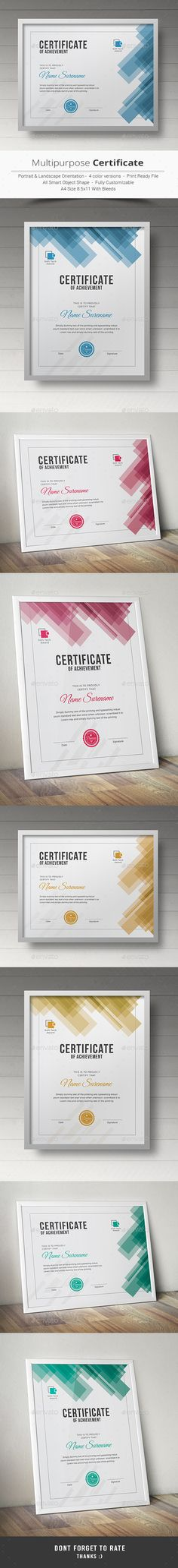 certificate This Multipurpose Certificates is Customizable and ready to print. A help file is included with the main file. 3 different color and easy to modify. Just select the global color and change the color in a single click. Certificate Layout, Certificate Templates, Certificate Of Appreciation, Certificate Of Achievement, Stationery Templates, Stationery Design, Graphic Design Templates, Print Templates, Magazine Layout Design