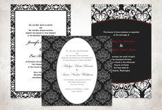 Traditional Damask Wedding Invitations