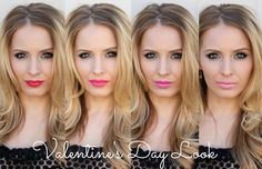 Valentine's Day Makeup tutorial and beauty tips via @K Squared Glamour #lips #lipstick #maybelline #revlon #milani #redlip #pinklip