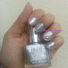 January Nail Art Challenge by Californails Day 31: Silver. Silver Nails using Golden Rose-Jolly Jewels #102