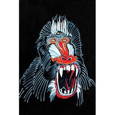 Marmont Hill Mandrill Print on Canvas, Size: 24 inch x 36 inch, Multicolor
