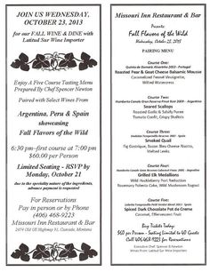 Fall 2013 Wine Dinner Menu Wine Dinner, Dinner Menu, Restaurant Bar, Missouri, Mousse, Fall, Autumn, Fall Season