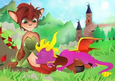 A Nap in Paradise - Spyro and Elora by Scale-Fang