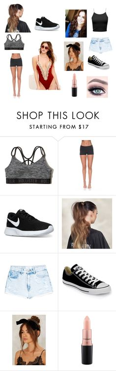 """""""Zoey 3pt1"""" by molly-johnson-i on Polyvore featuring Hollister Co., Solow, NIKE, Balmain, MANGO, Converse, MAC Cosmetics and Blue Life"""