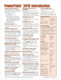 Microsoft PowerPoint 2010 Introduction Quick Reference Guide (Cheat Sheet of Instructions, Tips & Shortcuts - Laminated Card) by Beezix Inc. $3.60. Publication: June 10, 2010. Author: Beezix Inc. Publisher: Beezix Inc (June 10, 2010)
