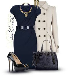 the dress is something I would wear to work, but not heels that high.  And, I wouldn't have thought about black accessories with navy - I like it!