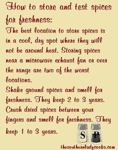 Here are some tips on how to store and test spices for freshness. Many of you probably already know how to test spices but we can always share with others that may not. Homemade Spices, Homemade Seasonings, Spice Blends, Spice Mixes, Easy Meat Recipes, Cooking Recipes, Cooking Hacks, Vegan Recipes, Storing Spices