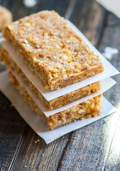 Mango Coconut Almond Paleo Protein Bars! No bake protein bars recipe with healthy fats and complete protein. Easy to digest and made with natural sugars.