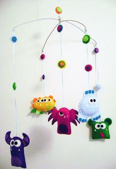 Baby Mobile Felt  Monster Mayhem  Home Decor by RedMarionette (so cute!)