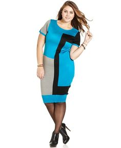 Love Squared Plus Size Dress, Short Sleeve Colorblocked Sweater - Plus Size Dresses - Plus Sizes - Macy's
