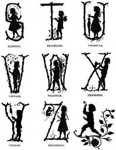 Part 3 of 3 of an enchanting Victorian silhouette alphabet. Victorian #alphabet #1800s #silhouettes by NanaPoppy