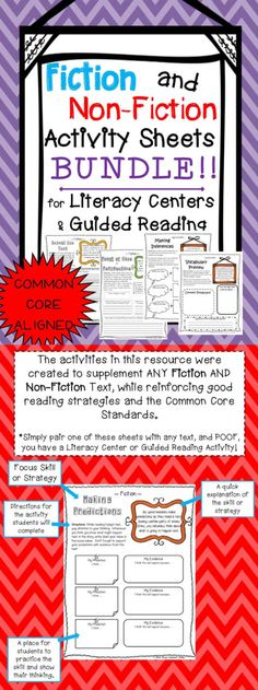 Bundle of FICTION and NON-FICTION Activity Sheets! Perfect for Literacy Centers and Guided Reading.  Aligned with the Common Core Standards! Paid