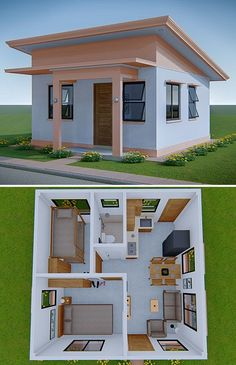 A Simple and Small House Design Idea with a Floor area of 32 Sq. m. (344 sq. ft.). 2 Bedrooms, 1 Toilet and Bath, Living Area, Dining Area and Kitchen. #SimpleHouseDesign #SmallHouseDesignIdeas #MinimalistHouseDesign Sims House Plans, House Layout Plans, Small House Plans, House Layouts, Small Room Layouts, Sims 4 House Design, Bungalow House Design, Tiny House Design, Modern House Design