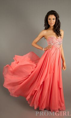 long coral dress beautiful! Would have worn this to my prom.