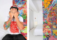"""Au Vieux Panier is a French hotel that annually sets aside five rooms to be re-conceptualized by artists and designers. One of the artists they commissioned is the internationally acclaimed graffiti artist Tilt. Entitled """"Panic Room"""" half the hotel room is clean, white, and spotless while the other half is crammed full of layers of loud graffiti. The demarcation between the pristine and the painted is so sharp, you'd think it was Photoshopped."""