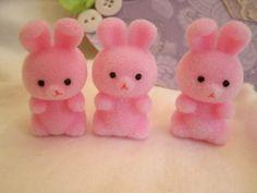 3 mini flocked bunnies soft velvety feel PINK 1 by loveitshabby